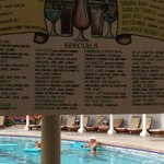 Poolside drink menu at Sandals Royal Caribbean