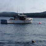 Lobster boat in sound