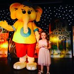 Grace with Olly the Elephant.