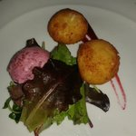 Totally delicious goats cheese balls with beetroot sorbet
