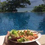 Fabulous Andaman seafood salad by the lower infinite pool