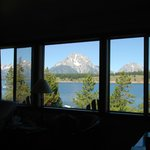 View from cabin living room on Jackson Lake and Grand Tetons