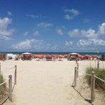 Hotel's private beach area