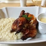 Small chicken with wine risotto and sauce