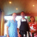 Mike and Mei Sarson with Head Chef Charlie Hurrell