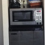 Mini fridge, coffee maker, microwave