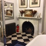 fire place in the bathroom