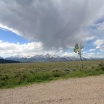 theres a storm coming over the Grand Tetons Jackson hole USA