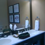 Vanity in bathroom - coffee maker below