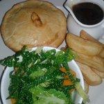 Beef bourguignon and stilton pie