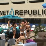 Wet Republic is right next to the Lazy River.  Loud music blasting from there to the Lazy River.