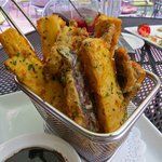 Try this Portabella mushroom and eggplant Fries delicious and amazing baslamic dipping sauce