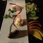 Beautifully plated sashimi, shrimp and fish cake.  Tastes just as good as it looks!