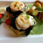 Fillet of Pollock with Spinach, Tomatoes and Mozzarella and Roasted Potatoes