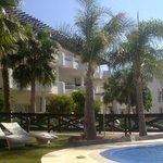 Zona de jardín y piscina
