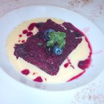The Crimson Cake (red-fruit cake) with Vanilla Sauce...perfect!