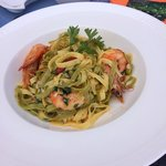 Prawns and tagliatelle