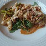 Panfried squid in chilli & garlic