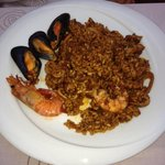 Homemade authentic seafood paella