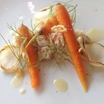 tourteau, carottes nouvelles