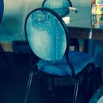 I loved the chairs reupholstered with jeans
