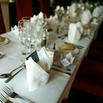 The table laid for wedding breakfast