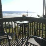 Deck corner with beach view