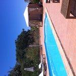 Poolside under clear blue skies