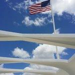 Flag above memorial