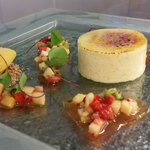 Coconut creme brulee passion fruit sorbet exotic fruit salad