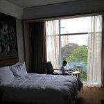 cozy room, soft beds, floor to ceiling windows