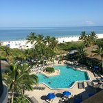 The view from our balcony of the pool and ocean