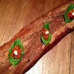 tomato with basil on a log