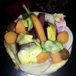 Vegetable tart - veggies sourced from their own garden!