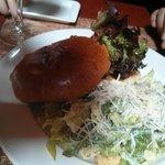 Burger with Caesar Salad