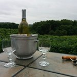 Enjoying the patio and the complimentary bottle of wine while overlooking the vineyard.