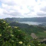 Sete Cidades caldera and lake from the path 20 minutes from Visata do Rei