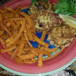 Dungeness crab cakes and sweet potato fries
