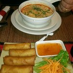 Spring rolls and soup