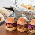 BBQ Pulled Pork Sliders, Red Cabbage, Apple.