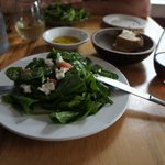 Rhubarb and baby spinach salad