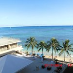 View of Waikiki Beach from our room at Outrigger Reef