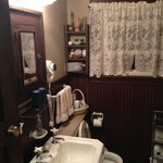view of bathroom - pardon my washcloth!