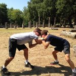 Sparring in the ancient wrestling training area