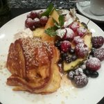 Passion fruit French toast! Beautiful and delicious.