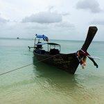 A longboat, high tide