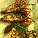 Local lobster with chilli & garlic,  gratin potoatoes