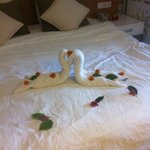 Cleaners like to leave you towel art!