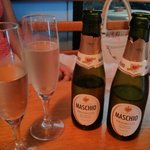 Prosecco at the Blue Island Cafe