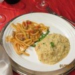 risotto alla tropicana e scialatielli con pomodoro funghi e salsicce